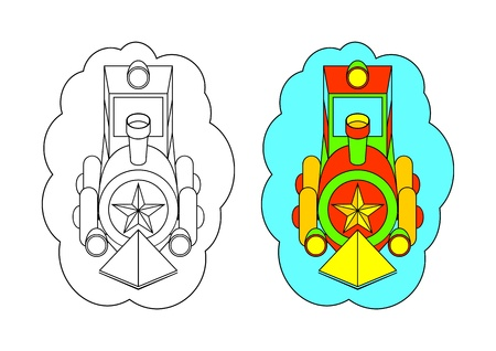 The picture for coloring. Contour of the locomotive and painted the locomotive on a white background. Vector