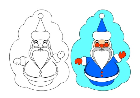 The picture for coloring. Contour of Santa Claus and painted Santa Claus on a white background. Vector