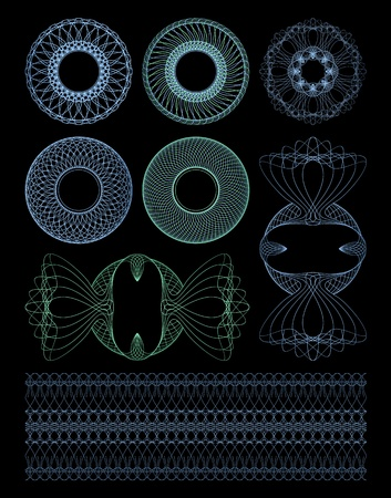 Set guilloche decorative rosettes. Isolated objects on a black background. Vector