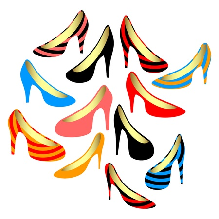 Set of women s shoes  Isolated objects on a white background  Stock Vector - 13706632