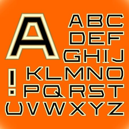 package printing: English alphabet. A complete set of letters on a orange background.