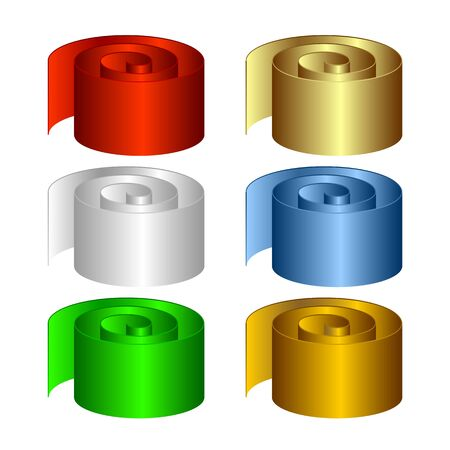curtailed: Set of multicolored rolls. The isolated objects on a white background. Illustration