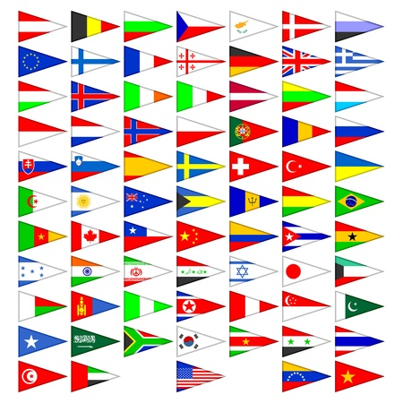 Flags of the countries of the world. A set of the isolated icons on a white background. Illustration