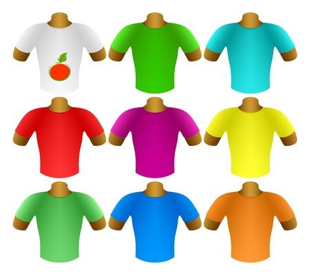 cliche: Juego de camisetas sobre un fondo blanco. Camisetas de diferente color. Por una camiseta de la manzana se dibuja. Vectores