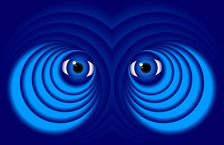 scowl: Abstract eyes on a dark blue background. Illustration