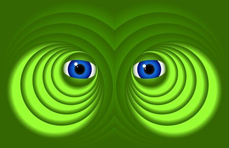 frowned: Abstract eyes on a dark green background.