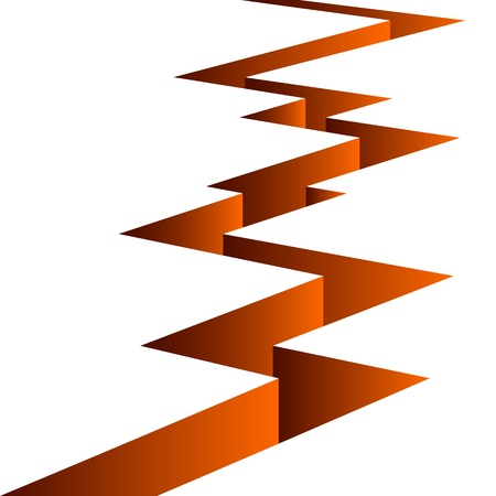 fault: Orange fissure separates the white background.