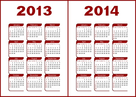Calendar for 2013,2014.Red  letters and figures on a white background. Illustration