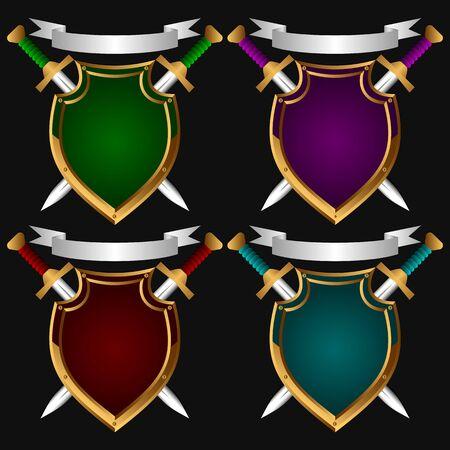 espadas medievales: Junta sobre un fondo negro. Detrás de ella dos espadas. Set.