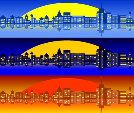 City landscape. A set of three options. Stock Vector - 14827800