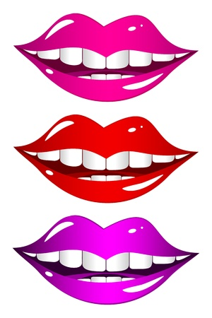 merrily: Set of different colored lips on a white background. Funny mouth smiles merrily.