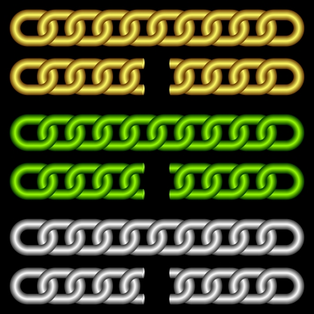 Set of chains of different color on a black background. Chains not damaged and chains damaged. Vector