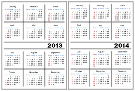 Template of a calendar of white color. A calendar for 2013 and 2014. Vector