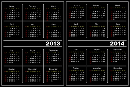 Template of a calendar of black color. A calendar for 2013 and 2014. Vector