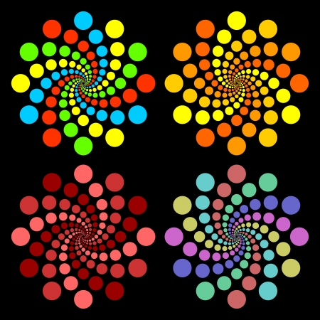 interval: Set of colored circles on a black background. Illustration