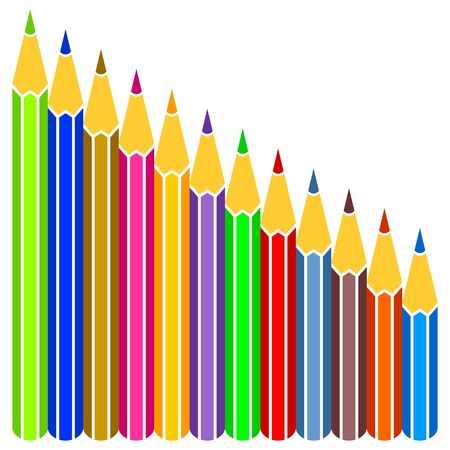 Multicolored pencils on a white background. Pencils of the different size. Stock Vector - 15057863