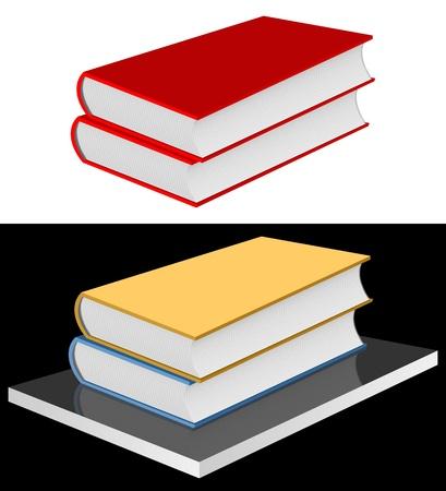 俵: 白い背景の上の 2 つの赤い本。黒の背景上の連隊に 2 冊の本。