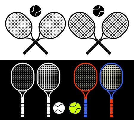 racquetball: Las raquetas de tenis y pelotas cruzadas formando un emblema. Composici�n en un fondo blanco Vectores