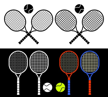 tennis racket: The crossed tennis rackets and balls form an emblem. Composition on a white background