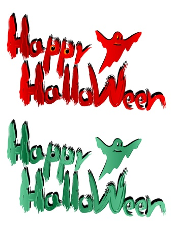 marsh: The inscription Happy Halloween on a white background. The inscription in the two versions. Red version and the version of marsh color. Illustration