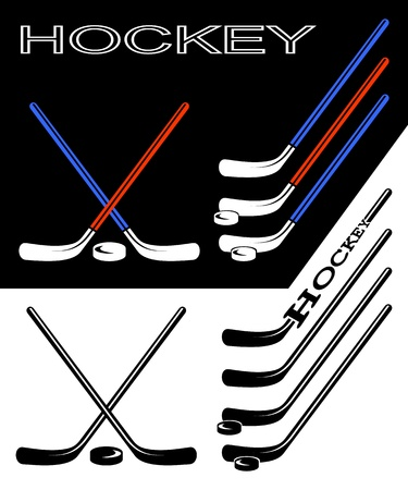 hockey stick: Set of hockey sticks on black and white backgrounds.