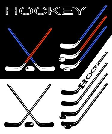 attribute: Set van hockeysticks op zwart-wit achtergronden.