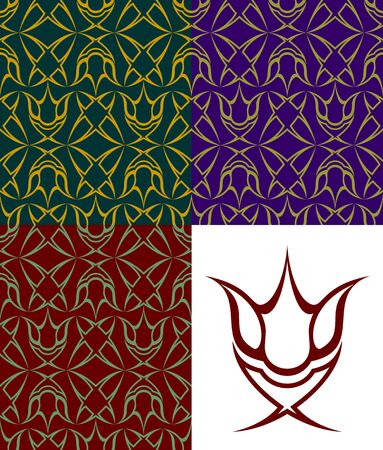 Set of seamless patterns. Three versions of different color. The pattern element on a white background is separately located. Stock Vector - 15365913