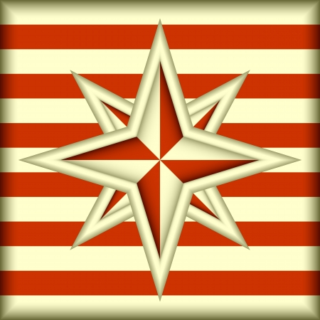 The stylized sign of a wind rose on a striped background. Ilustração