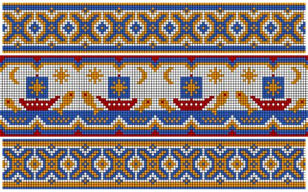 slavic: Ornament similar to an ancient Russian ornament. The ships on the sea and fish jumps out of water. Set.