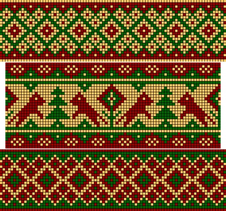 Set of patterns similar to an ancient Russian ornament  Vector