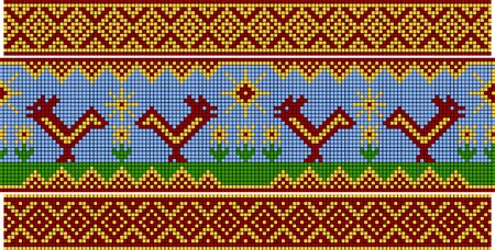 vintage weaving: Set of patterns similar to an ancient Russian ornament. Cock and sun. Illustration