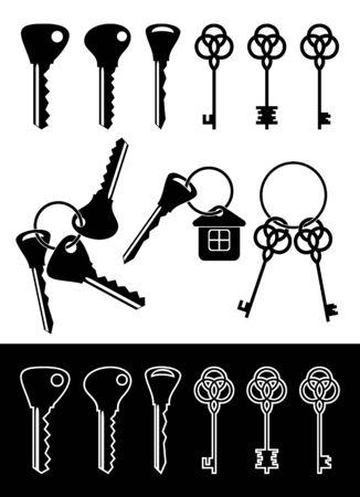 cliche: Las siluetas aisladas de claves en un fondo blanco. En la parte inferior de las siluetas de imagen de teclas en un fondo negro. Vectores