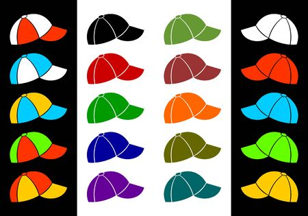 cliche: Set of baseball caps of different color on a black and white background.