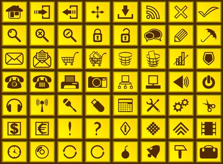 Set web of icons. Icons are executed in the form of yellow buttons. Stock Vector - 16196304