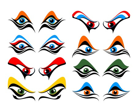 cliche: Set of abstract eyes on a white background.