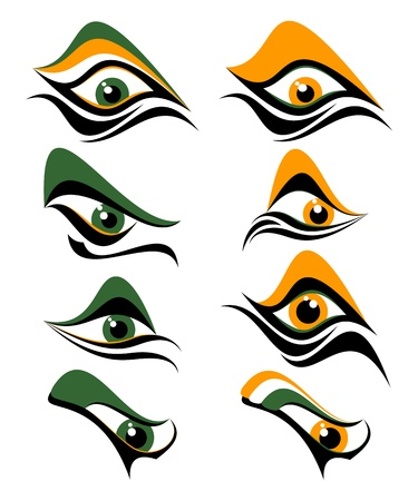 Abstract eyes on a white background. Eyes of dark green and orange colors.