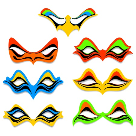 comedy disguise: Carnival masks on a white background. Masks of different color and different form. Illustration