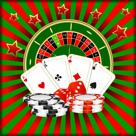 las vegas casino: Roulette, playing cards, dice and poker chips on a green red background. Illustration