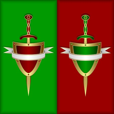 The heraldic composition consists of a gold board, a sword and a white banner. Composition in two options. On a red background and on a green background. Vector