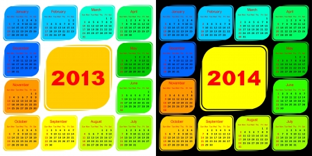 Multicolored template of a calendar. Calendar 2013 on a white background. Calendar 2014 on a black background. Vector