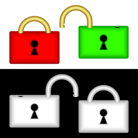 Set of locks on a black and white background  Locks are closed and open