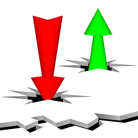 gap: Arrows punch a surface. The arrow of green color specifies up, the red arrow specifies down. Composition on a white background.