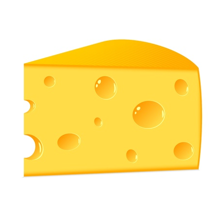 The isolated slice of cheese on a white background. Illustration