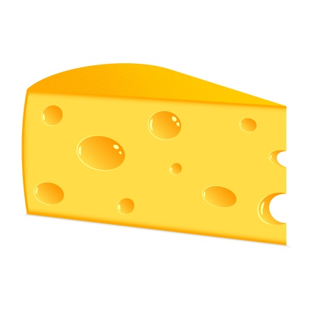Piece of cheese. The isolated object on a white background. Vector