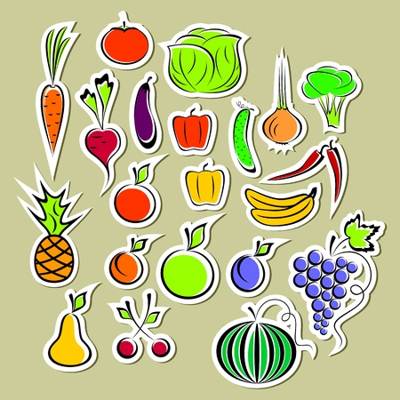 root vegetables: Set of stickers. Different vegetables, fruit and berries on a light background.