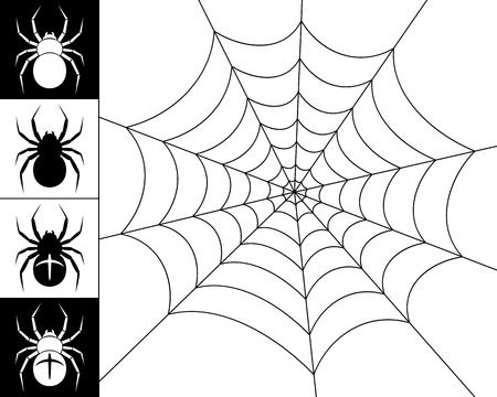 spider net: Cobweb spider on a white background. Silhouettes of spiders on a black and white background. Black-and-white illustration.