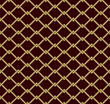 metal lattice: Seamless abstract background. Gold grid on a dark red background.