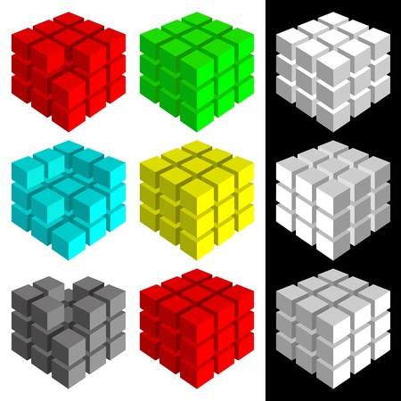 Set of cubes of different color on a white background. Three white cubes on a black background. Ilustração