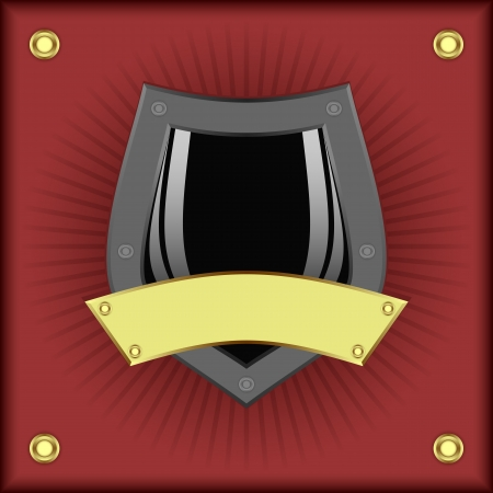 Grey shield and gold plate on a red background. Vector