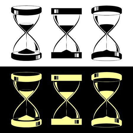 hourglass: Set of hourglasses. Black hourglasses on a white background. Yellow hourglasses on a black background.